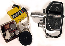 Cine Camera with lenses and Film.
