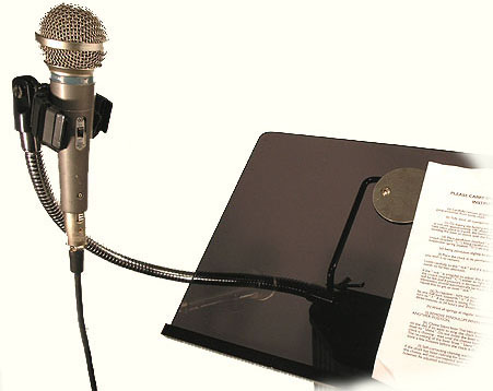 Microphone rostra stand and script speaker's point of view
