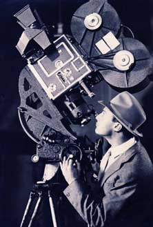 Jack Cardiff Poses with the Technicolor Camera