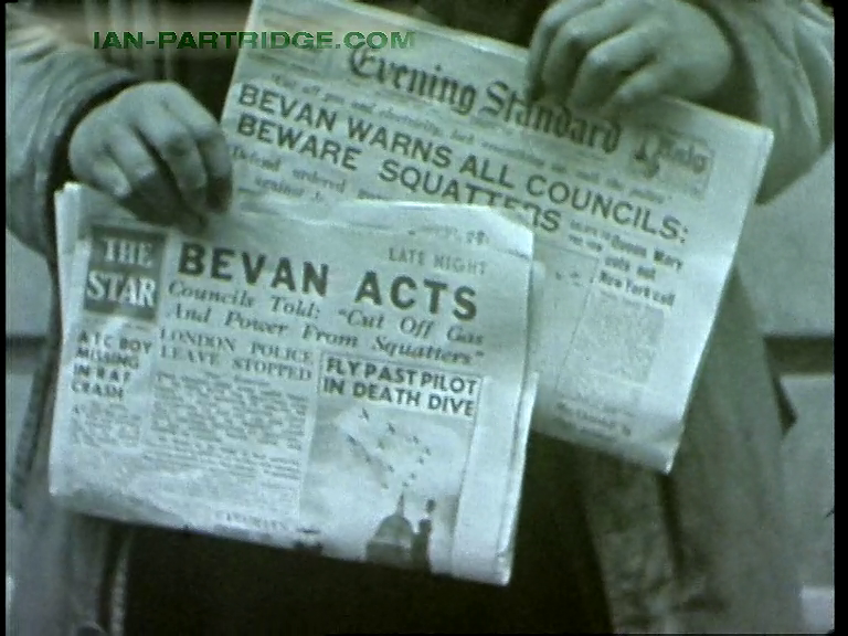 'Smith, Our Friend' (1946) Headline Bevan Acts against squatters